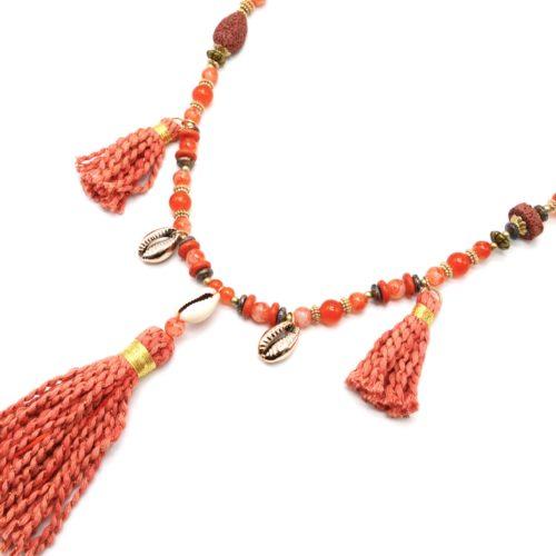 Sautoir-Collier-Perles-Verre-avec-Cauris-et-Pompons-Torsades-Orange