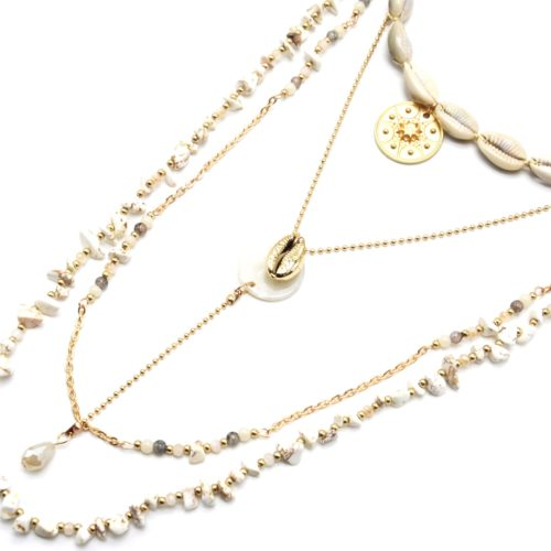 Sautoir-Collier-Multi-Rangs-Perles-Pierres-Effet-Marbre-Blanc-avec-Cauris-et-Medaille