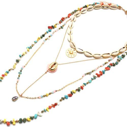 Sautoir-Collier-Multi-Rangs-Perles-Pierres-Effet-Marbre-Multicolore-avec-Cauris-et-Medaille