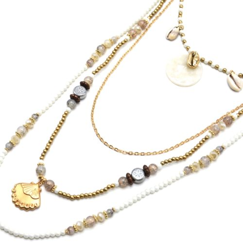 Sautoir-Collier-Multi-Rangs-Perles-Blanches-avec-Cauris-et-Coquillage-Dore