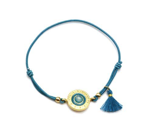 Bracelet-Elastique-Bleu-Charm-Cercle-Ethnique-Acier-Dore-Pierre-et-Pompon