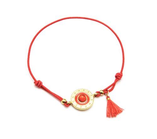 Bracelet-Elastique-Orange-Charm-Cercle-Ethnique-Acier-Dore-Pierre-et-Pompon