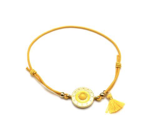 Bracelet-Elastique-Moutarde-Charm-Cercle-Ethnique-Acier-Dore-Pierre-et-Pompon