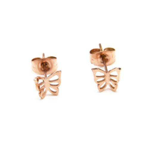 Boucles-dOreilles-Mini-Papillon-Ajoure-Acier-Or-Rose
