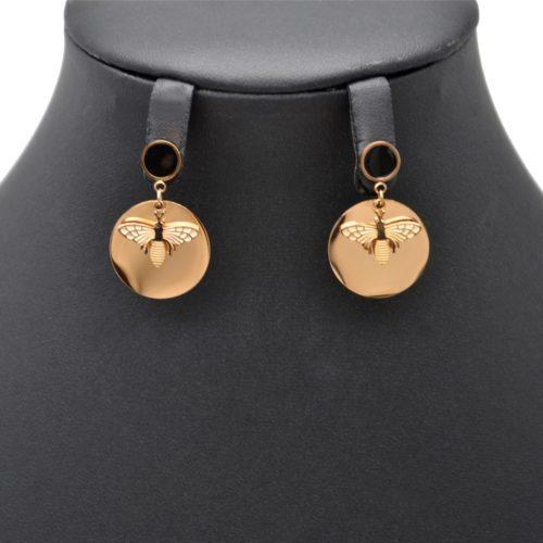 Boucles-dOreilles-Cercle-Noir-et-Medaille-Acier-Or-Rose-avec-Abeille