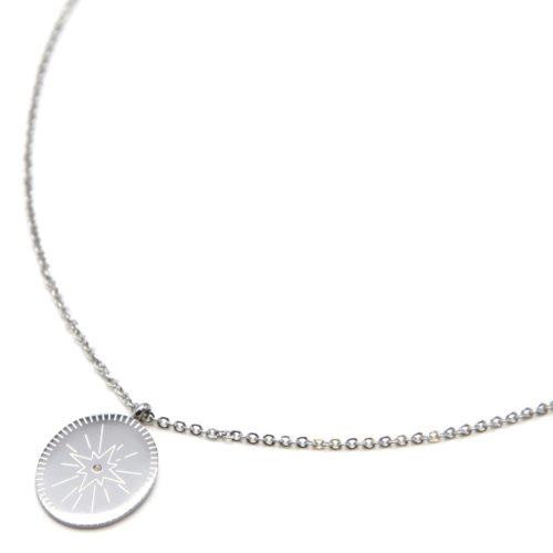 Collier-Fine-Chaine-avec-Medaille-Gravee-Etoile-Polaire-Acier-Argente