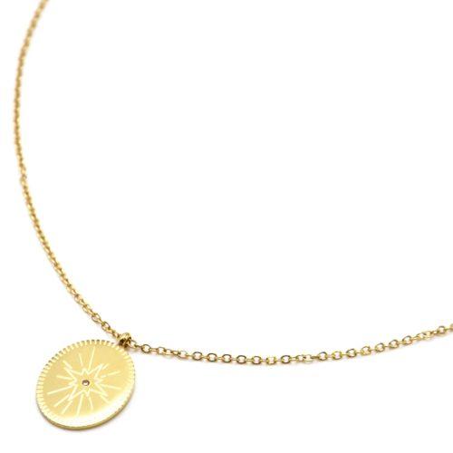 Collier-Fine-Chaine-avec-Medaille-Gravee-Etoile-Polaire-Acier-Dore