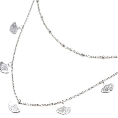 Collier-Double-Chaine-avec-Boules-et-Multi-Feuilles-Ginkgo-Acier-Argente