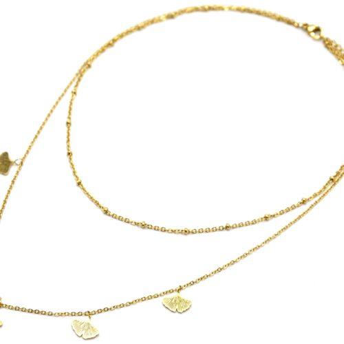 Collier-Double-Chaine-avec-Boules-et-Multi-Feuilles-Ginkgo-Acier-Dore