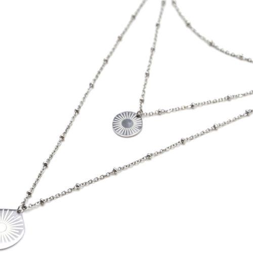 Collier-Triple-Chaine-avec-Boules-et-Medailles-Gravees-Soleil-Acier-Argente