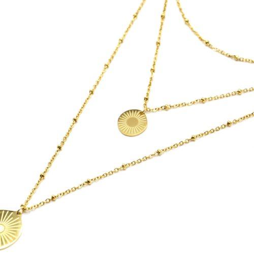 Collier-Triple-Chaine-avec-Boules-et-Medailles-Gravees-Soleil-Acier-Dore