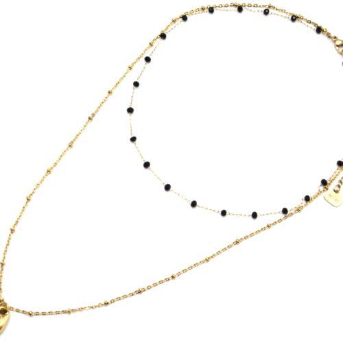 Collier-Double-Chaine-avec-Perles-Noires-et-Cauri-Acier-Dore