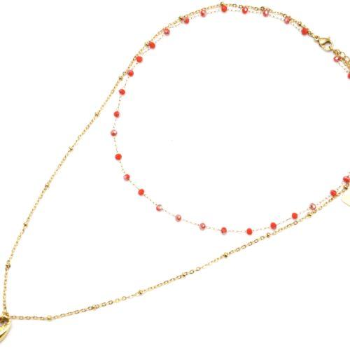 Collier-Double-Chaine-avec-Perles-Oranges-et-Cauri-Acier-Dore
