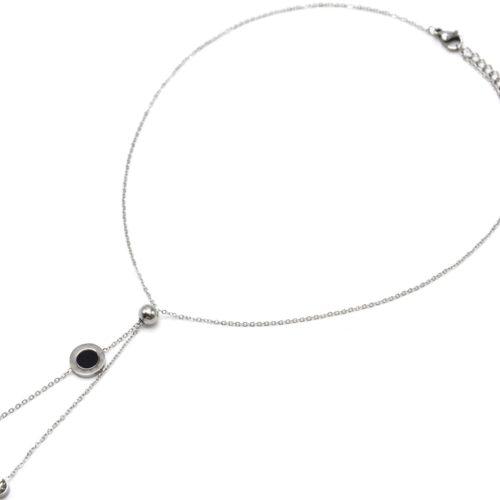 Collier-Fine-Chaine-Acier-Argente-Pendentif-Y-Boule-Cercle-Noir-et-Pierres