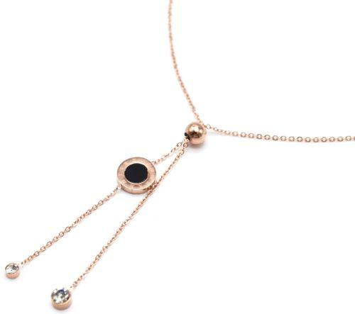 Collier-Fine-Chaine-Acier-Or-Rose-Pendentif-Y-Boule-Cercle-Noir-et-Pierres