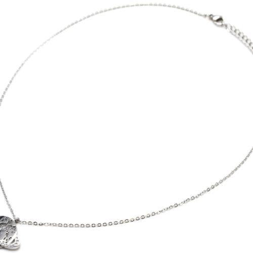Collier-Fine-Chaine-Acier-Argente-Pendentif-Planete-Saturne-Anneau-Strass