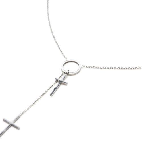 Collier-Fine-Chaine-Acier-Argente-Pendentif-Y-Cercle-et-Double-Croix