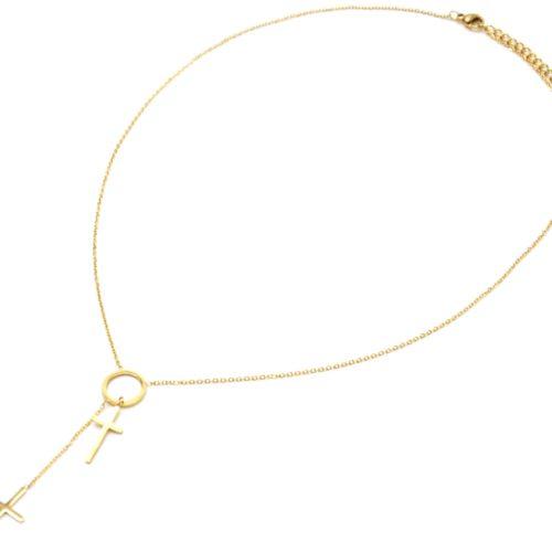 Collier-Fine-Chaine-Acier-Dore-Pendentif-Y-Cercle-et-Double-Croix