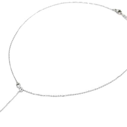 Collier-Fine-Chaine-Acier-Argente-Pendentif-Y-Infini-et-Coeur-Strass