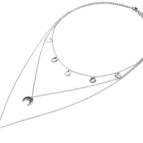 Collier-Triple-Chaine-Pampilles-et-Pendentifs-Cornes-Lunes-Acier-Argente