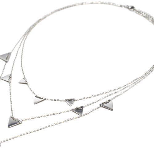 Collier-Triple-Chaine-Pampilles-Triangles-Inverses-Acier-Argente