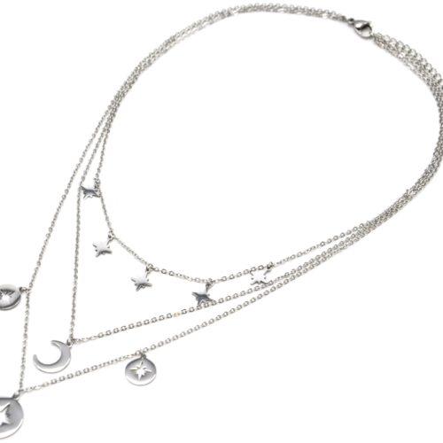 Collier-Triple-Chaine-Pampilles-Etoiles-Polaires-et-Lune-Acier-Argente