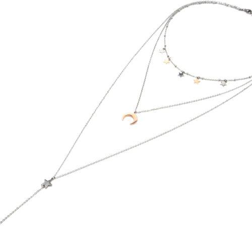Collier-Triple-Chaine-Pampilles-Etoiles-et-Corne-Lune-Acier-Argente-Or-Rose