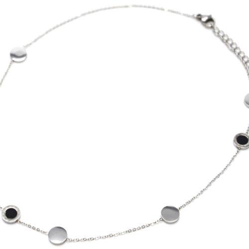 Collier-Fine-Chaine-Charms-Cercles-Noirs-Chiffres-Romains-et-Acier-Argente