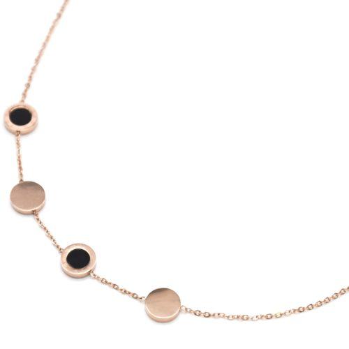 Collier-Fine-Chaine-Charms-Cercles-Noirs-Chiffres-Romains-et-Acier-Or-Rose