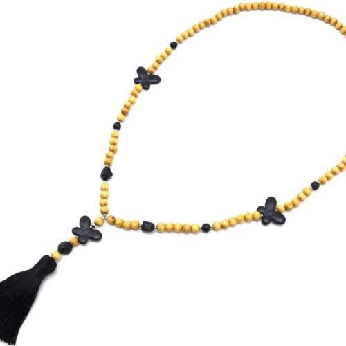 Sautoir-Collier-Perles-Bois-et-Effet-Marbre-avec-Triple-Papillons-Pierre-et-Pompon-Noir