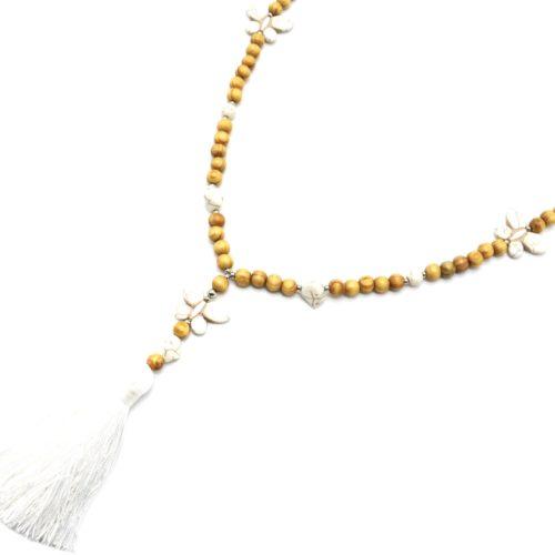 Sautoir-Collier-Perles-Bois-et-Effet-Marbre-avec-Triple-Papillons-Pierre-et-Pompon-Blanc