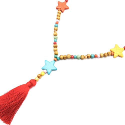 Sautoir-Collier-Perles-Bois-et-Effet-Marbre-avec-Triple-Etoiles-Pierre-et-Pompon-Multicolore