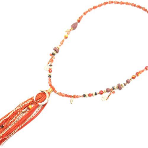 Sautoir-Collier-Perles-Verre-avec-Corne-Resine-et-Pompon-Franges-Tresses-Orange