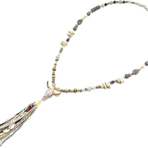 Sautoir-Collier-Perles-Verre-Pierres-Cauris-avec-Tete-Buffle-Resine-et-Pompon-Gris