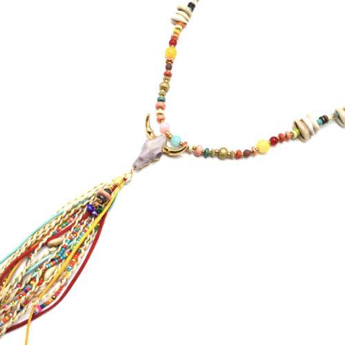 Sautoir-Collier-Perles-Verre-Pierres-Cauris-avec-Tete-Buffle-Resine-et-Pompon-Multicolore