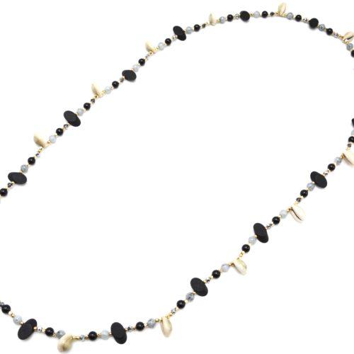 Sautoir-Collier-Perles-Verre-et-Ovales-Bois-Noir-avec-Multi-Cauris