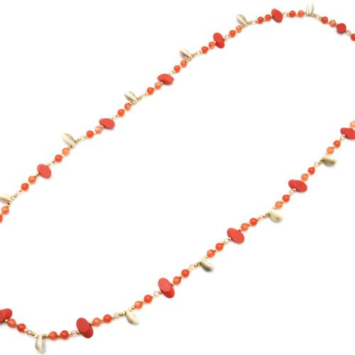 Sautoir-Collier-Perles-Verre-et-Ovales-Bois-Orange-avec-Multi-Cauris