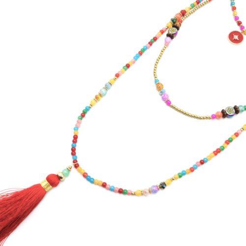 Sautoir-Collier-Multi-Rangs-Perles-Verre-Multicolore-avec-Cercle-Etoile-Polaire-et-Pompon-Rouge