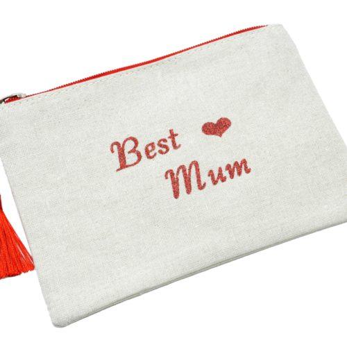 Trousse-Pochette-Toile-Message-Best-Mum-Paillettes-et-Pompon-Rouge