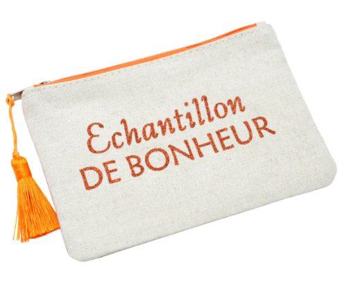 Trousse-Maquillage-Pochette-Toile-Message-Echantillon-de-Bonheur-Paillettes-et-Pompon-Orange