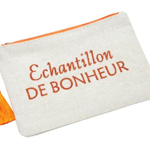 Trousse-Pochette-Toile-Message-Echantillon-de-Bonheur-Paillettes-et-Pompon-Orange
