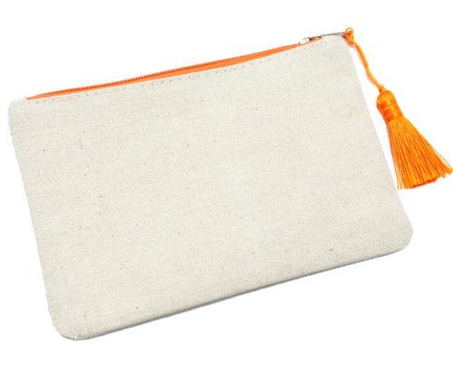 Trousse-Maquillage-Pochette-Toile-Message-Paillettes-et-Pompon-Orange