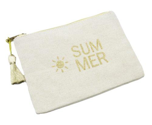 Trousse-Pochette-Toile-Message-Summer-Paillettes-et-Pompon-Doré