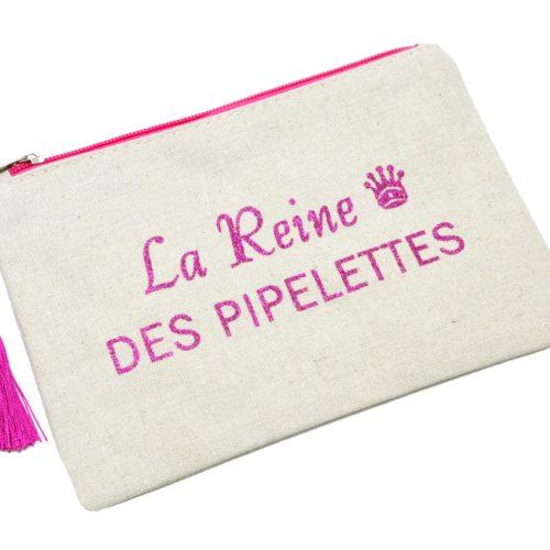 Trousse-Pochette-Toile-Message-La-Reine-des-Pipelettes-Paillettes-et-Pompon-Fuchsia
