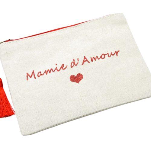Trousse-Pochette-Toile-Message-Mamie-d-Amour-Paillettes-et-Pompon-Rouge