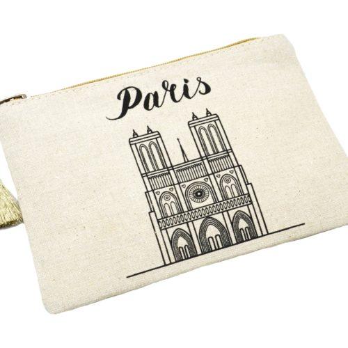 Trousse-Pochette-Toile-Motif-Notre-Dame-Paris-et-Pompon-Doré