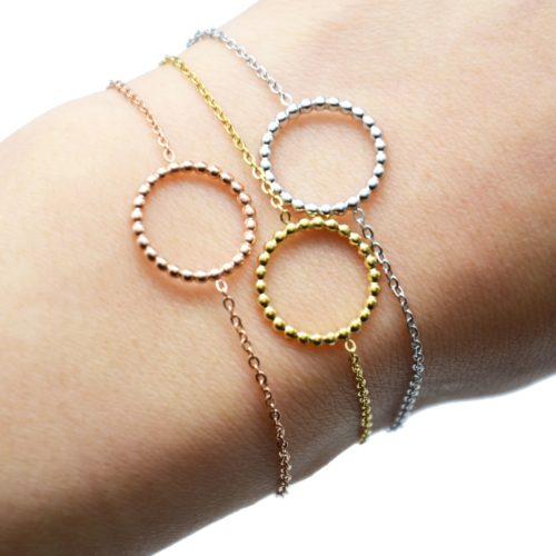 Bracelet-Fine-Chaine-avec-Charm-Cercle-Contour-Billes-Acier