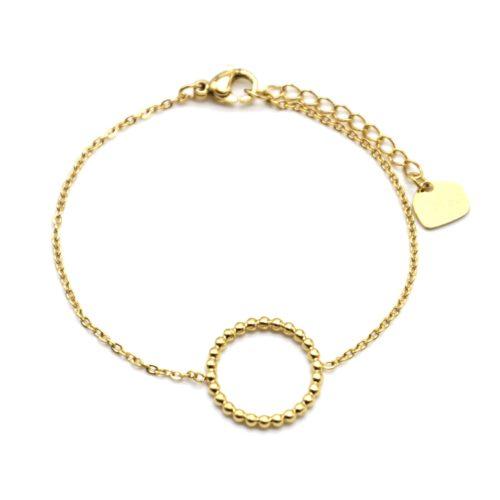 Bracelet-Fine-Chaine-avec-Charm-Cercle-Contour-Billes-Acier-Dore
