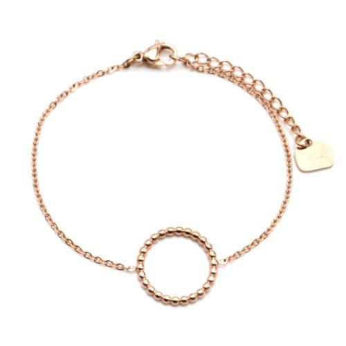 Bracelet-Fine-Chaine-avec-Charm-Cercle-Contour-Billes-Acier-Or-Rose