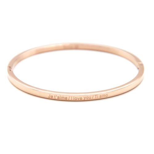 Bracelet-Jonc-Fin-Acier-Or-Rose-avec-Message-Je-t-aime-I-love-you-Ti-amo